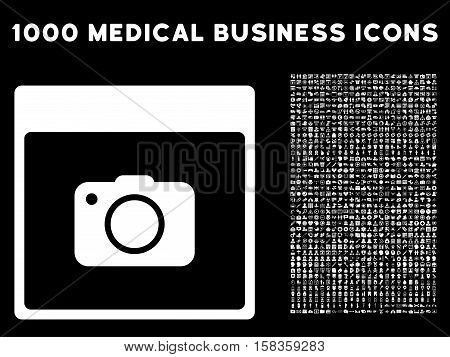 White Photo Camera Calendar Page vector icon with 1000 medical business pictograms. Set style is flat symbols, white color, black background.