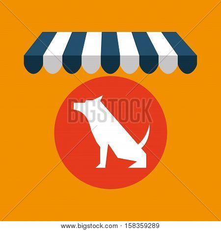 pet shop with dog sitting vector illustration eps 10