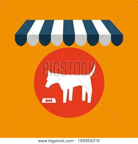pet shop with eating dog vector illustration eps 10