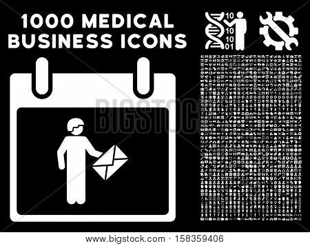 White Postman Calendar Day vector icon with 1000 medical business pictograms. Set style is flat symbols, white color, black background.