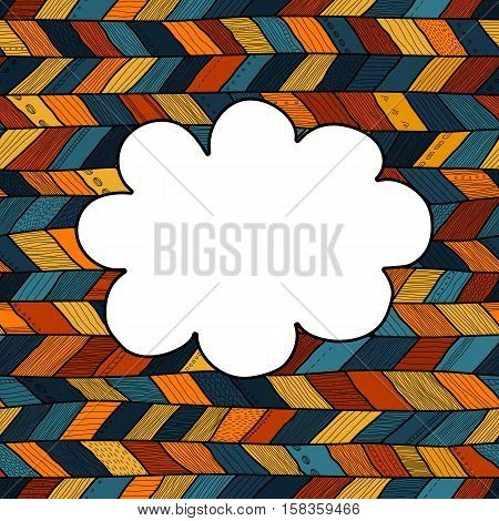 Braided pattern cloud style frame vector illustration.