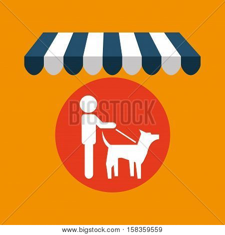 pet shop with person walk dog vector illustration eps 10