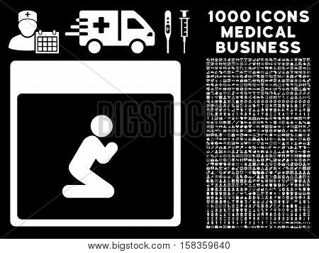 White Pray Person Calendar Page vector icon with 1000 medical business pictograms. Set style is flat symbols, white color, black background.