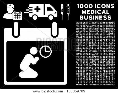 White Pray Time Calendar Day vector icon with 1000 medical business pictograms. Set style is flat symbols, white color, black background.