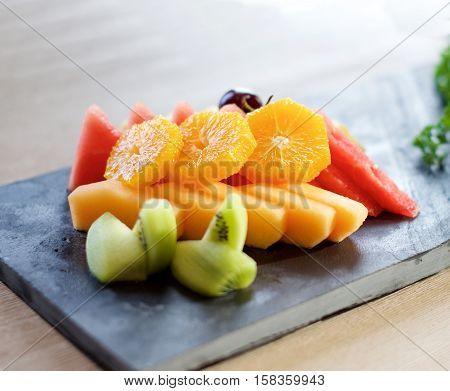Fruit Plate on a slate on a table