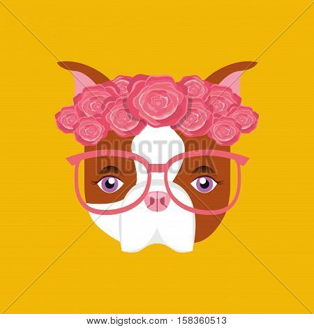 cute dog pet with flower and glasses heart background vector illustration eps 10