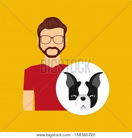 character man bearded pet french bulldog graphic vector illustration eps 10