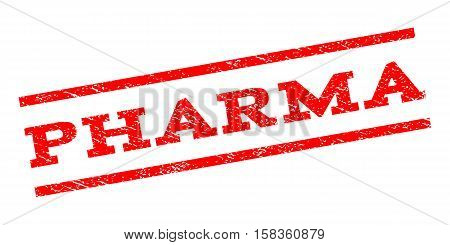 Pharma watermark stamp. Text tag between parallel lines with grunge design style. Rubber seal stamp with scratched texture. Vector red color ink imprint on a white background.