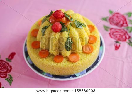 Malaysian dish Yellow Glutinous Rice or locally known as Pulut Kuning for wedding ceremony