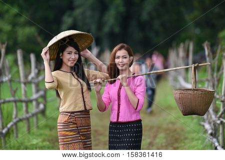 Beautiful Thai Asian women winnow rice separate between rice and rice chaff identity in traditionally wearing typical Thai dress