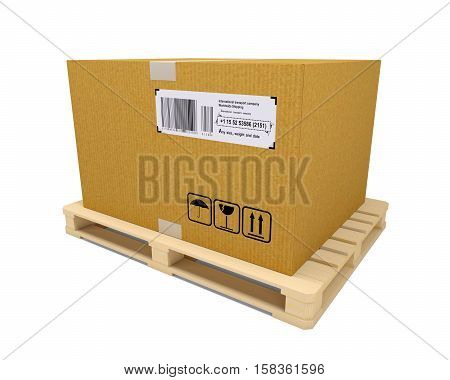 Cardboard container with wooden pallet on white background. 3D rendering