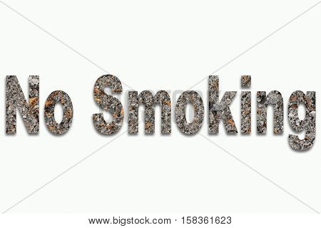 Cigarettes addiction No Smoking - cigarette cinder in writing inserted