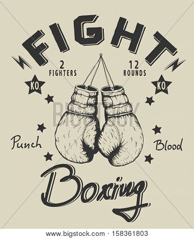 Retro monochrome label with old boxing gloves .Vintage style.Prints design for t-shirts