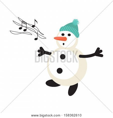 Singing snowman cartoon vector icon. New Year personage illustration.