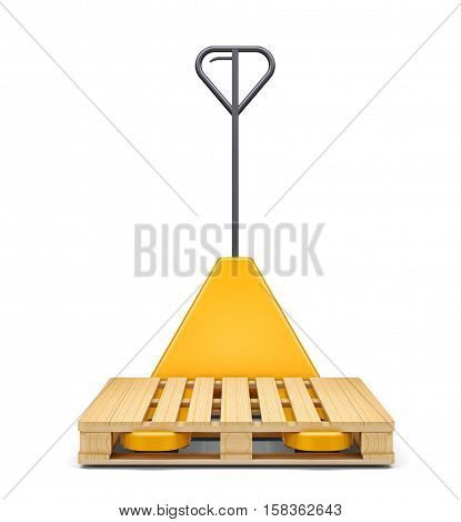 Hydraulic hand pallet truck with pallet isolated on white background. 3D rendering