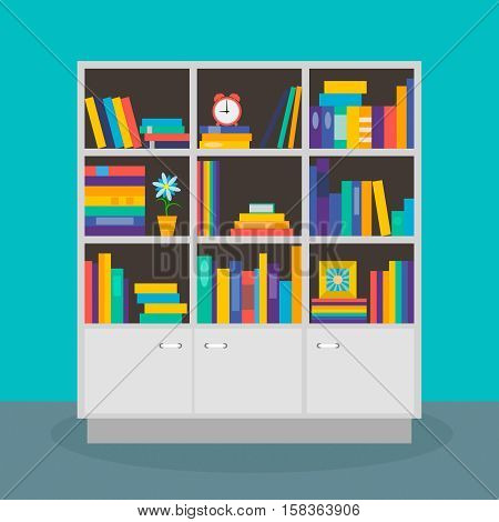 Bookcase books on the shelves. Library reading literature. Vector image. Flat design.