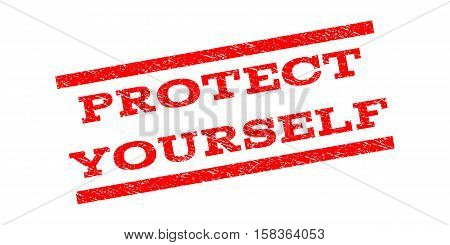 Protect Yourself watermark stamp. Text caption between parallel lines with grunge design style. Rubber seal stamp with dirty texture. Vector red color ink imprint on a white background.