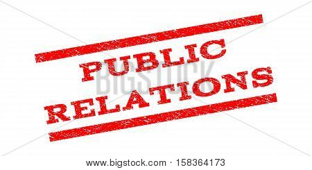 Public Relations watermark stamp. Text tag between parallel lines with grunge design style. Rubber seal stamp with scratched texture. Vector red color ink imprint on a white background.