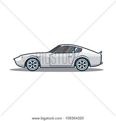 Old japan sport car. Side view. Vector illustration eps 10