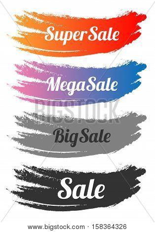 Set of sale banner. Super sale. Brushstroke. Vector illustration. On a white background.
