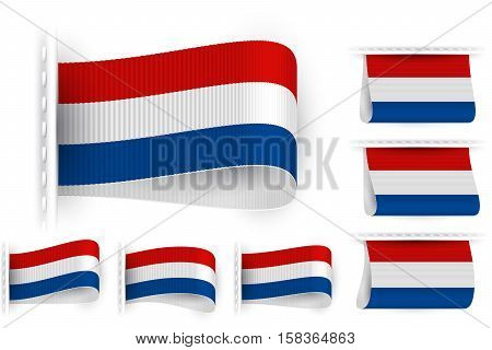 National state flag of Netherlands Holland; Sewn clothing label tag; Vector icon set Kingdom of the Netherlands flags Eps10