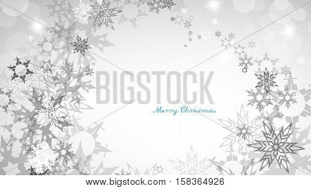 Christmas silver background with heart shaped snowflakes and decent blue Merry Christmas text - horizontal version