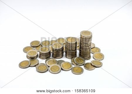 Saving money concept preset by put money coin stack on white background. Growing business concept