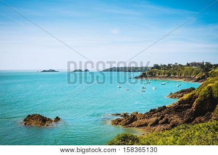 coastal summer landscape of Bretagne, Brittany, France