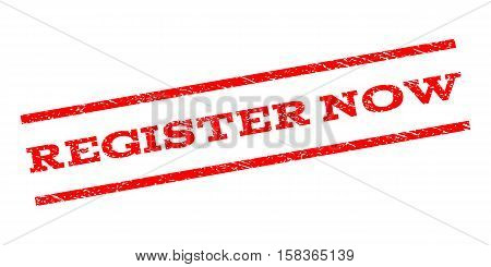 Register Now watermark stamp. Text caption between parallel lines with grunge design style. Rubber seal stamp with dirty texture. Vector red color ink imprint on a white background.