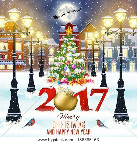 happy new year and merry Christmas winter old town street with christmas tree. Santa Claus with deers in sky above the city. concept for greeting, postal card, invitation, template, 2017