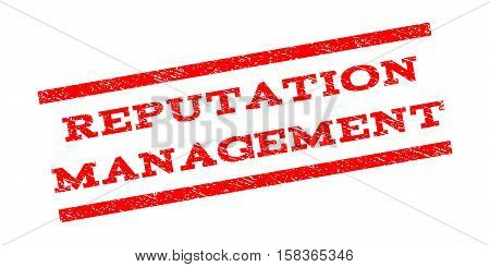 Reputation Management watermark stamp. Text tag between parallel lines with grunge design style. Rubber seal stamp with dust texture. Vector red color ink imprint on a white background.