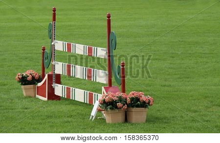 A Wooden Fence for Horse Show Jumping.