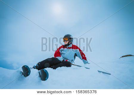 skier on snow hill in Solden, Austria, extreme winter sport
