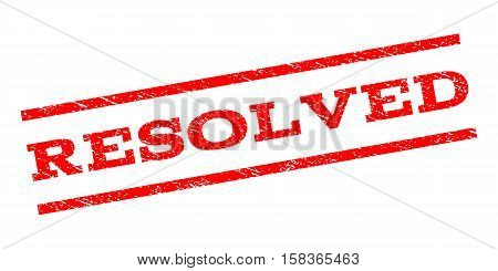 Resolved watermark stamp. Text tag between parallel lines with grunge design style. Rubber seal stamp with scratched texture. Vector red color ink imprint on a white background.