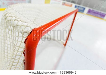 Hockey Goal Seen From Behind in Hockey Rink
