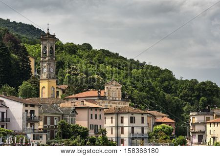 Cityscape of Porto Ceresio (Varese Lombardy Italy) along the Lake of Lugano (Ceresio)