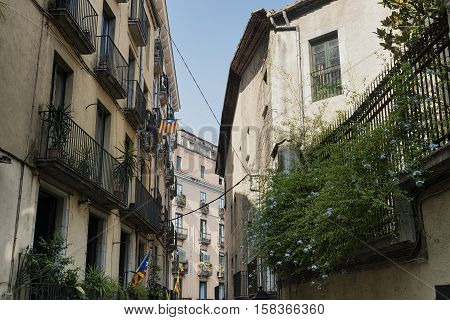Girona (Gerona Catalunya Spain): old typical streets
