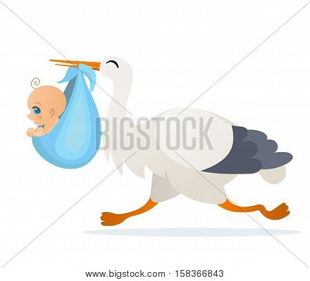 Vector cute cartoon stork with baby boy