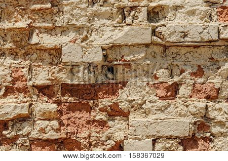 Old Brick Wall Starting to Fall Apart for your Background