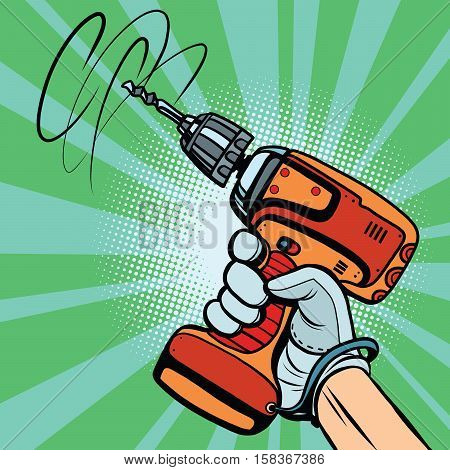 Tool electric drill in hand, pop art retro comic book vector illustration. Home and professional equipment