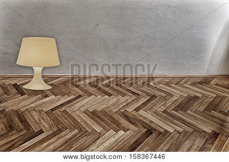 lantern on parquet floor and grunge wall