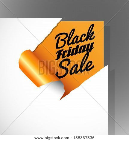 Black Friday Sale text uncovered from teared paper corner.