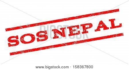 Sos Nepal watermark stamp. Text tag between parallel lines with grunge design style. Rubber seal stamp with dust texture. Vector red color ink imprint on a white background.