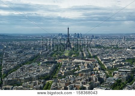 The City Skyline At Daytime. Paris, France. Taken From The Tour Montparnasse With The Eiffel Tower,