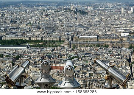 Telescope Viewer And City Skyline At Daytime. Paris, France. Taken From The Tour Montparnasse