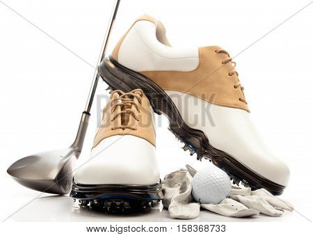 Pair of Golf Shoes with Glove, Ball and Club