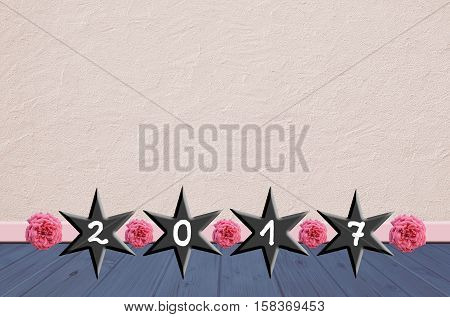 Vintage New Years Background Design With Roses And Stars
