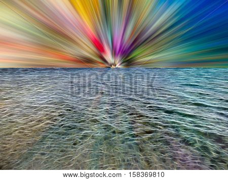 Illustration of a sea made up of glowing lines with colorful rays of light on the horizon
