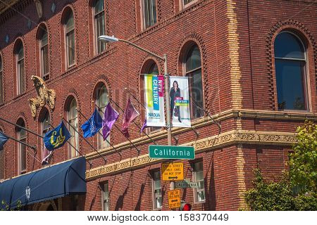San Francisco, California, United States - August 17, 2016: close up of University Club of San Francisco historic building at the intersection of California and Powell streets in Nob Hill neighborhood