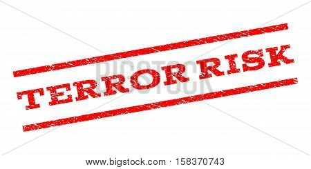 Terror Risk watermark stamp. Text tag between parallel lines with grunge design style. Rubber seal stamp with dirty texture. Vector red color ink imprint on a white background.